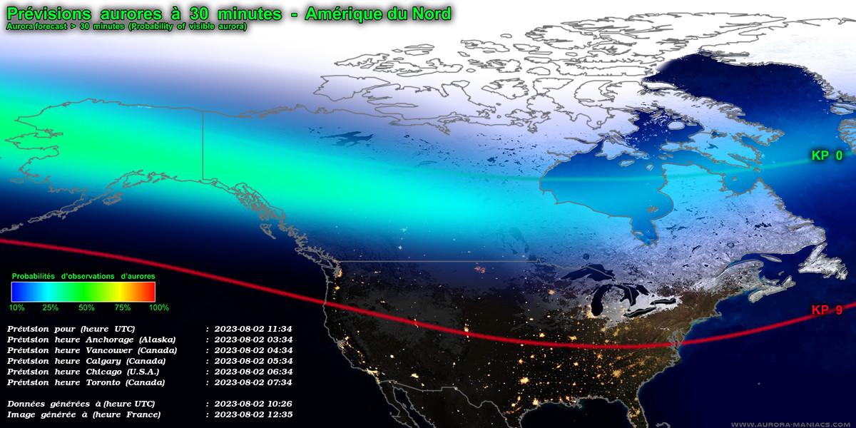 Carte d'Amérique du Nord des aurores boréales en direct