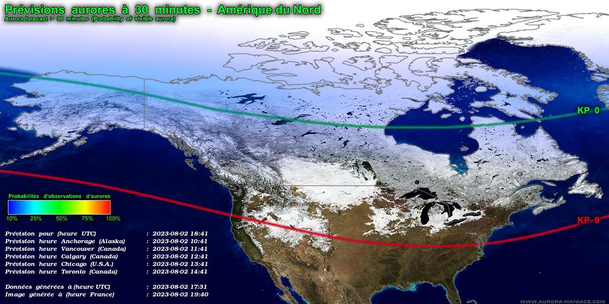 Prévisions aurores boréales, Amérique du Nord (Alaska, Canada, Québec, USA)