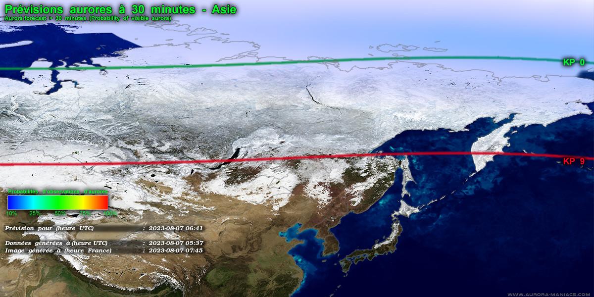 Prévisions aurores boréales, Asie (Russie, Chine, Mongolie)