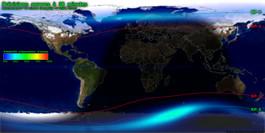 Prévisions aurores boréales et australes, monde