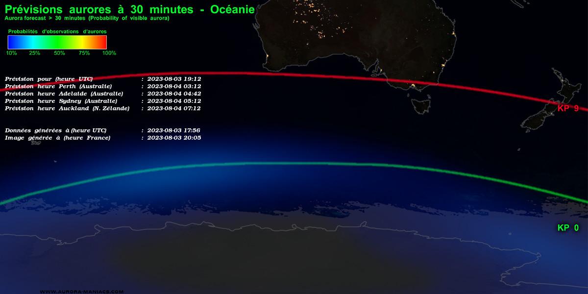 Prévisions aurores australes, Océanie / Antarctique (Nouvelle-Zélande, Australie)